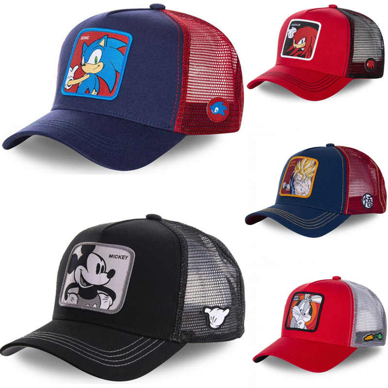 Neue Marke Anime Dragon Ball Mickey Sonic The Hedgehog Hysterese Baumwolle Baseball Cap Hip Hop Papa Mesh Hut Trucker Hut dropshipping