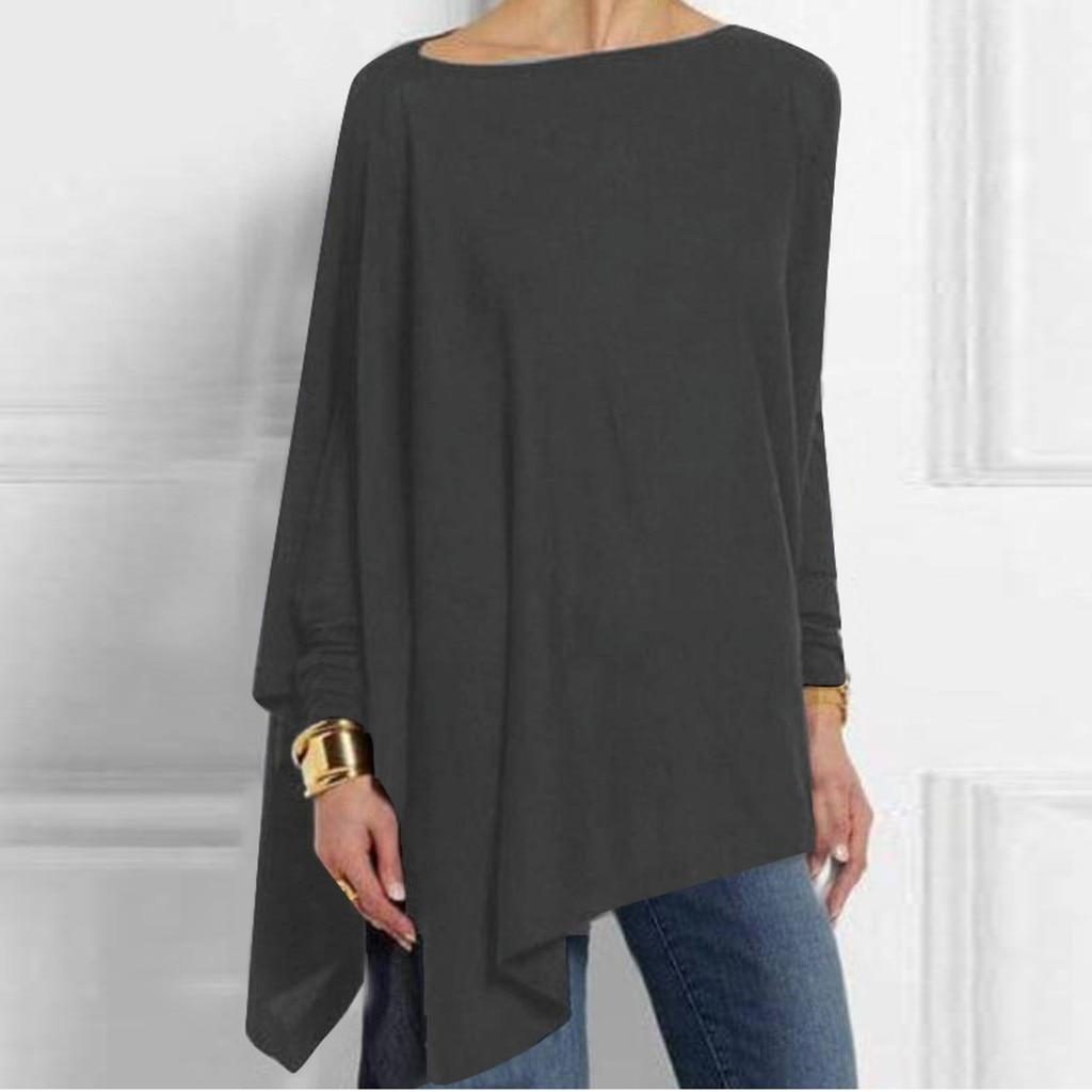 Blouse Women Shirt Women Tops Solid Long Sleeve Irregular Sweatshirt Loose Print Pullover Tops Blouse блузка женская Z4