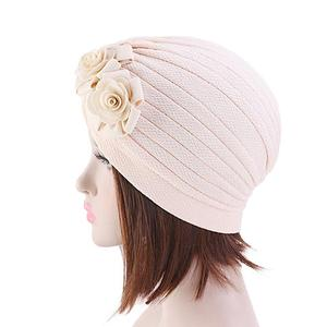 Image 5 - Women Muslim Islamic Elastic Turban Head Scarf Double Large Flower Beanie Hat Headwear Fashion Ruffle Turban Cap