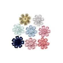 10 pçs bela flor do laço applique guarnição bordado remendos de renda para acessórios de vestuário artesanal decoração costura diy 35mm