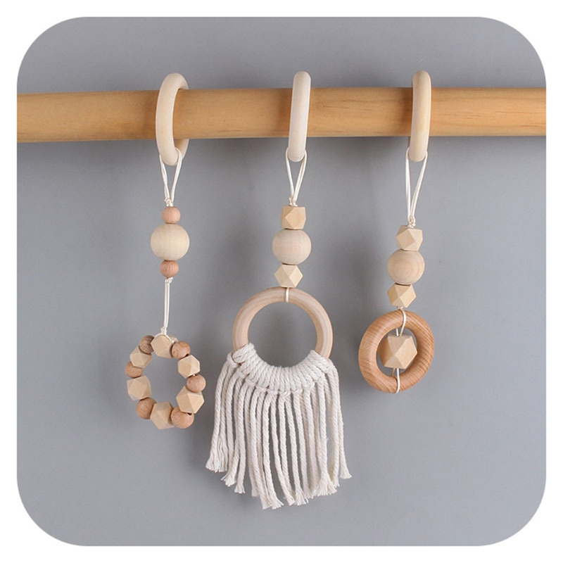 3Pcs/Set Nordic Style Baby Play Gym Frame Pendants Wooden Activity Gym Frame Stroller Hanging Pendants Baby Play Toys