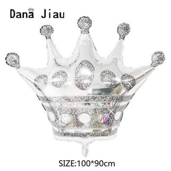 Dana jiau big silver crown party foil Balloon 20 years old Happy Birthday decoration golden crowns baby shower helium ball image