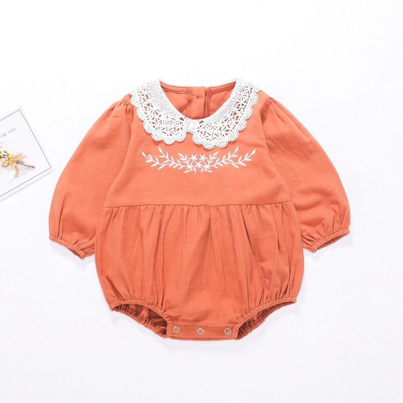Милый кружевной комбинезон с длинными рукавами для новорожденных