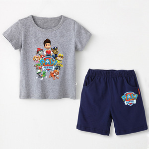 Image 4 - Paw patrol New 2019 Girls Baby Clothing spring  summer Breathable cotton T shirt childrens short sleeve suit childrens wear