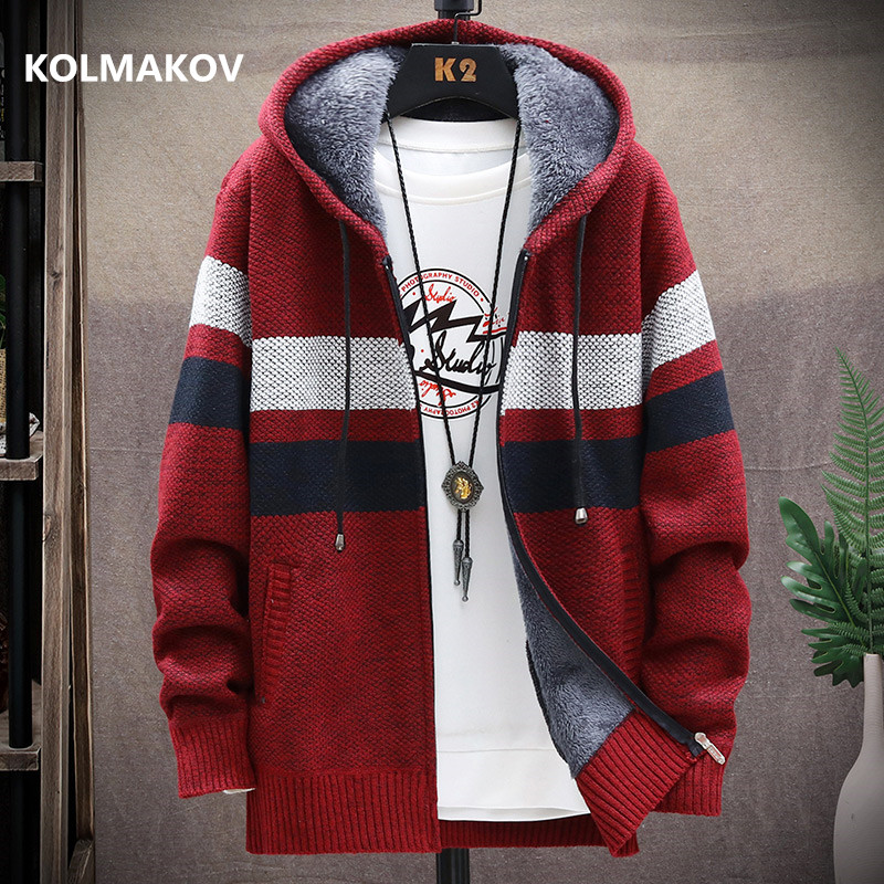 2020 winter Men's high quality Knitted thicken Mens Coats Hood Male Sweater Casual Keep warm Male Cardigan Sweaters Men MY039