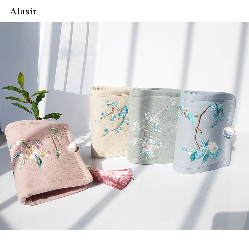 Alasir Chinese Style Linen Coin Purses Embroidery Flowers Short  Wallet Women Mini Wallet Art Floral  Vintage Card Holders
