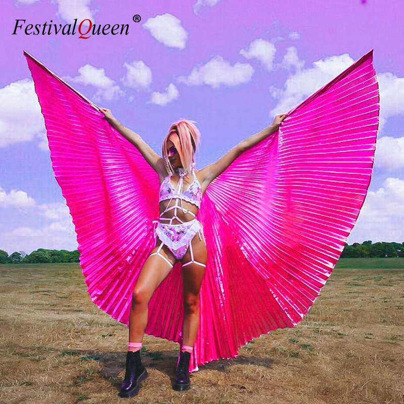 Transparent 360 Degree Big Butterfly Wing Sexy Women Belly Dance Wings Costume Accessories Rave Festival Holiday 2019 Fashion