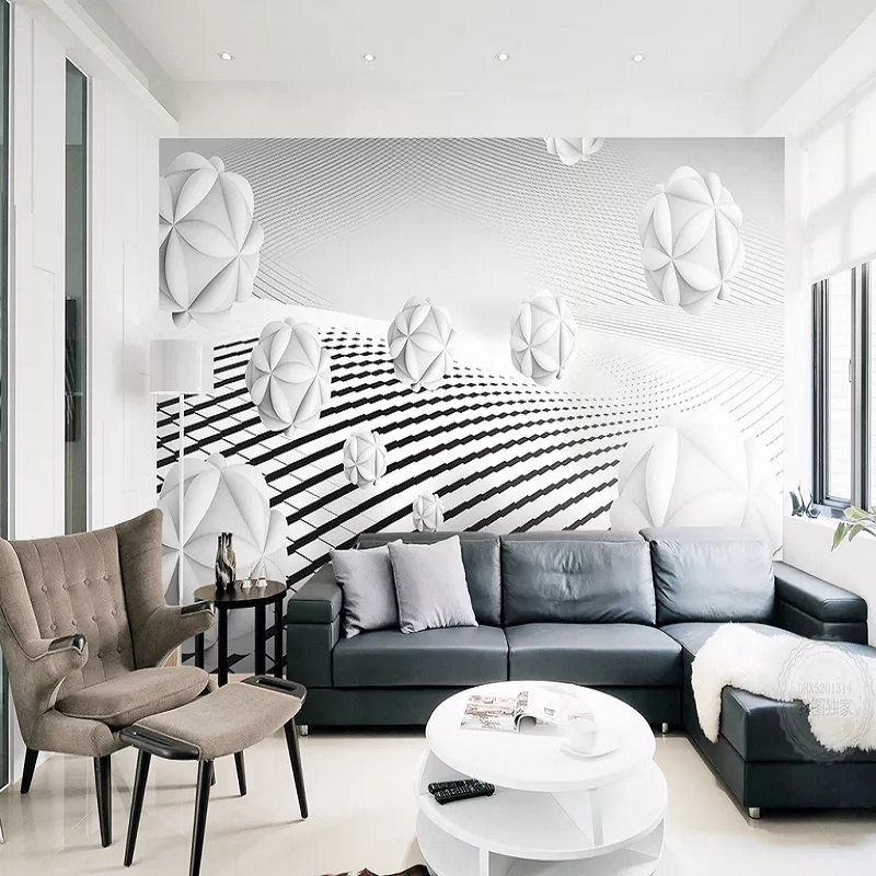 Custom Large Mural 3D Wallpaper Modern Creative 3D Space Geometric Sphere Living Room Mural TV Back Wall Decor Deep 5D Embossed