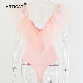 Articat Sexy Mesh Ruffles V Neck Bodysuit Women Off Shoulder Backless Pink Bodycon Jumpsuit Elegant Club Party Playsuit Rompers 5