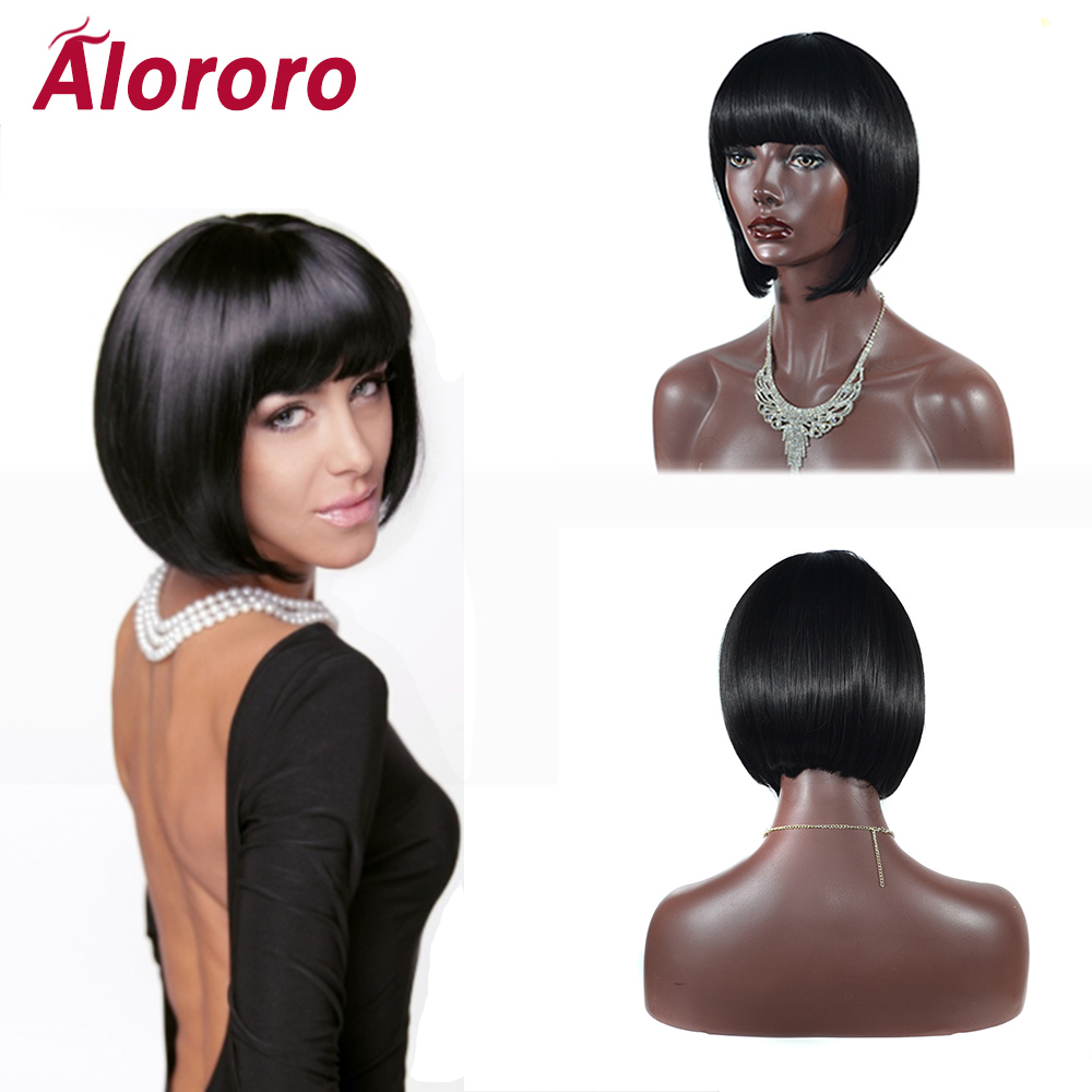 Alororo Bobo Style Short Wigs For Black Women 10inch Synthetic Wigs With Blunt Bangs Fake Hair 3 Daily Color Available