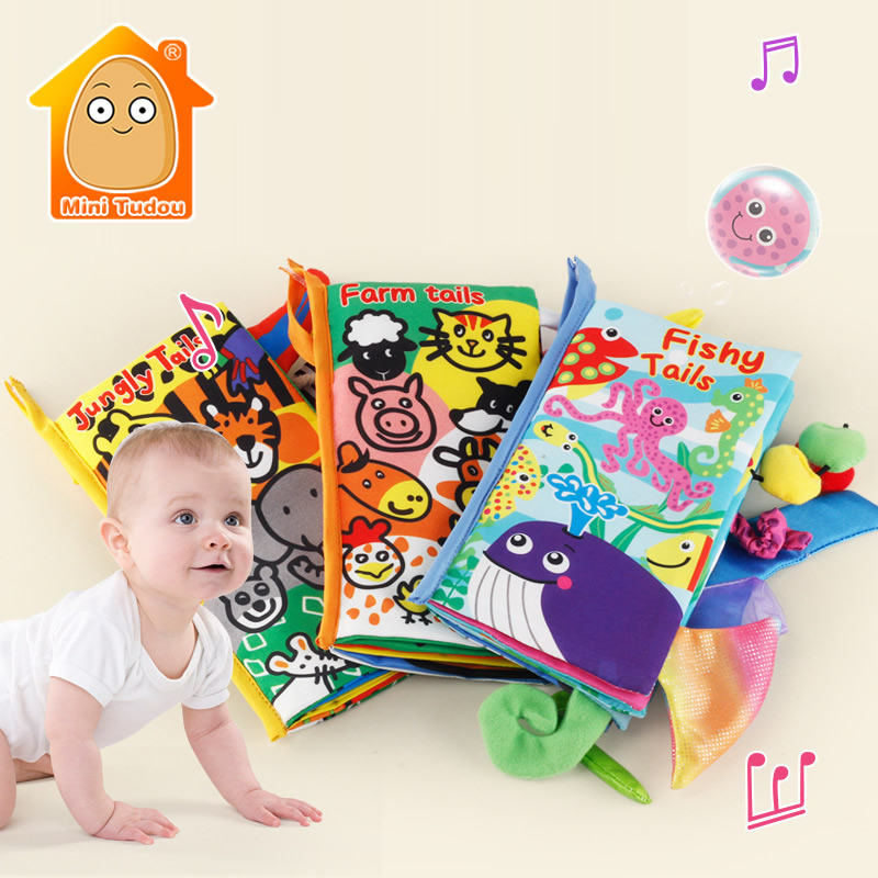 Baby Books 0-12 Months Kids Quiet Soft Animal Tails Cloth Book Newborn Stroller Hanging Toy Baby Early Learning Educational Toys