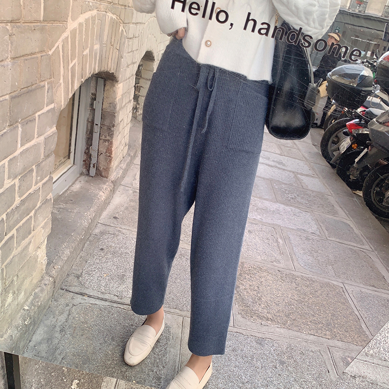 MISHOW 2019 Autumn Winter High Waist Knit Pant Women Elastic Waist Straight Solid  Keep Warm Knit Trousers MX19C2125