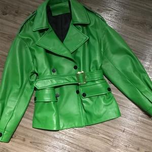Image 5 - Women Real Lambskin Jacket Skirt Style with Belt Real Leather Fashionable Sweet Women Streetwear Pure Leather Jacket