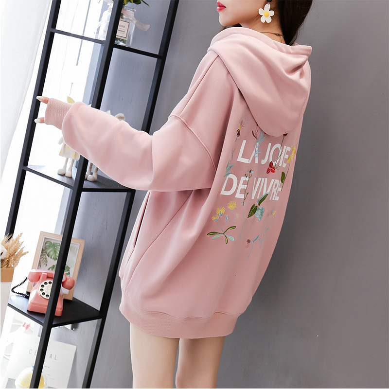 Wild Fashion Print Letter Harajuku Flower Women Hoody Sweatshirt Loose Long Sleeves Autumn Cotton Lady Pullover Thin Tops Female