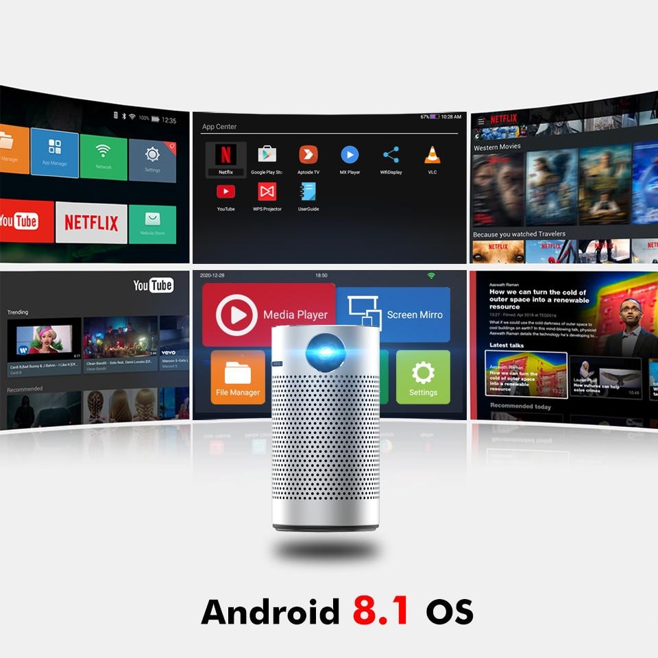 Byintek p7 projetores de bolso portátil pico inteligente android wifi 1080p 4k tv laser mini led cinema em casa telefone dlp projetor-2