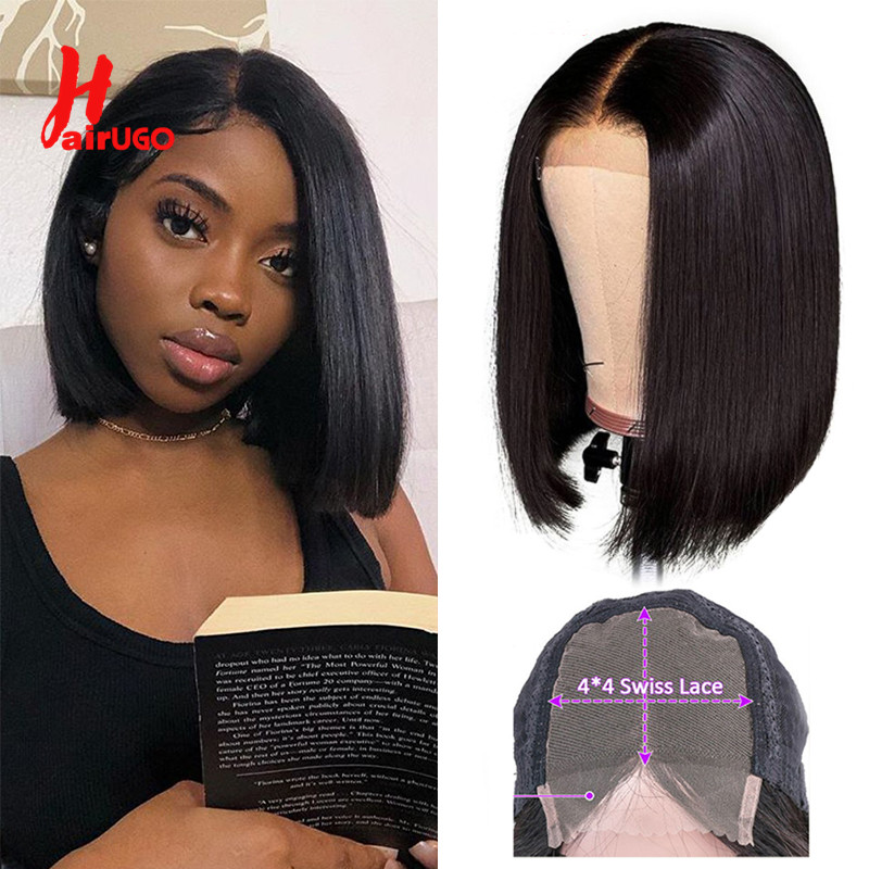 HairUGo Lace Closure Bob Wig 100% Human Hair Wigs 8''-16'' Middle Ratio Pre Plucked Hairline Brazilian Remy Wigs For Black Women
