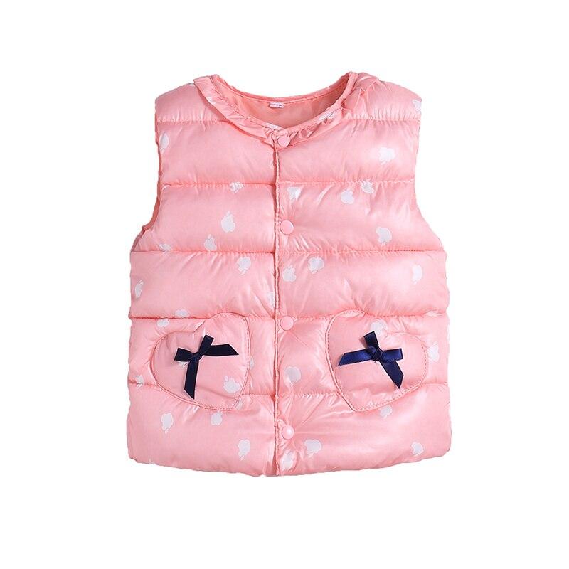 Милый жилет с хлопковой подкладкой ярких цветов для детей, зимний легкий жилет в горошек для маленьких девочек, выходящее теплое пальто для детей, топ для мальчиков - Цвет: pink