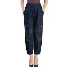 Summer Women Harem Pants Jeans Mom Plus Size Trousers Lady Casual High Elastic Waist Loose Embroidery Denim Pants For Female цена 2017