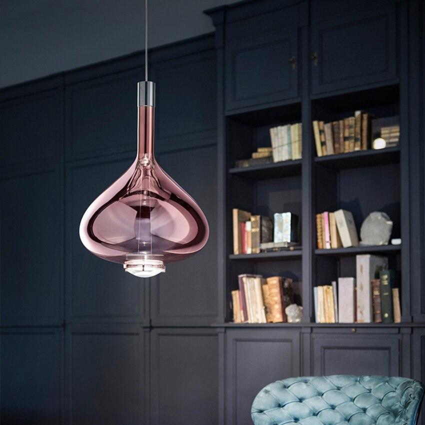 Design moderno di Arte Colorful LED Lampade a sospensione In Vetro LOFT di Illuminazione Lungo la Linea Lampada a Sospensione Ristorante Deco Coperta Light Fixtures - 2