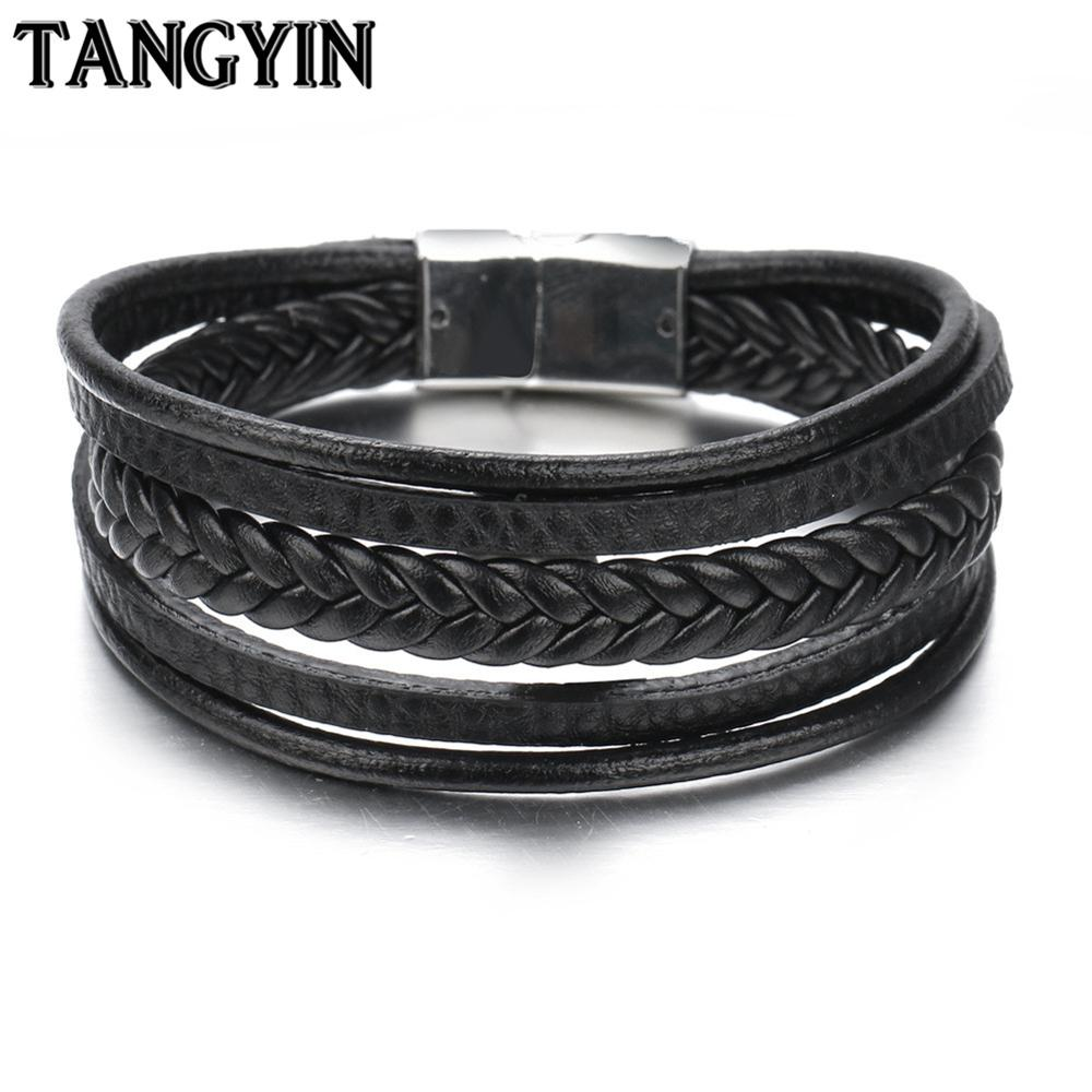TANGYIN Multi-layer Stainless Steel Buckle Black/Brown Genuine Leather Bracelet For Men Women Classic Design For Surprise Gift