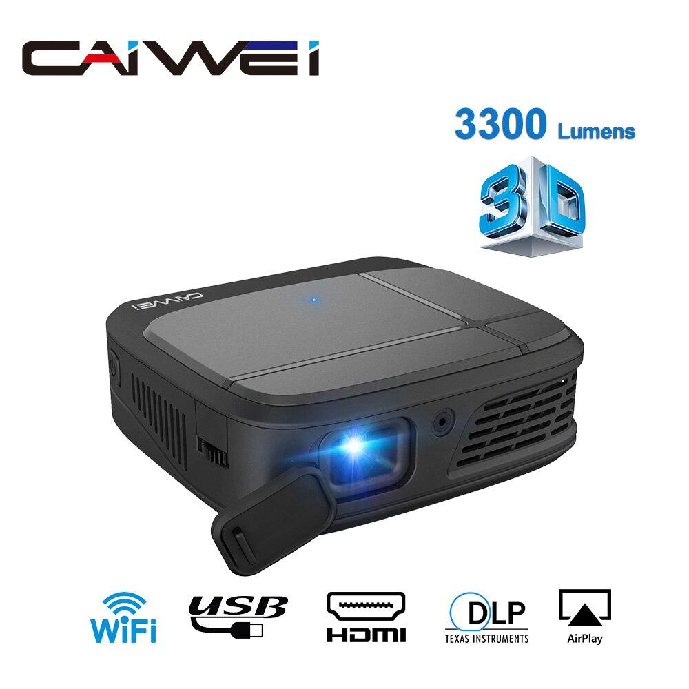 CAIWEI H6W Smart DLP Mini projecteur de poche Wifi 3D projecteurs 3300 Lumens 1080P Full HD Home cinéma TV portable projecteur HDMI