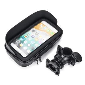 Image 2 - 방수 자전거 오토바이 휴대 전화 가방 홀더 사이클링 rearview 핸들 바 케이스 전화 지원 GPS 마운트 아이폰 8P XS