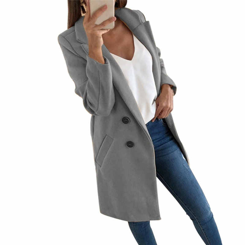 New Autumn and Winter Woolen Women's Coat Solid Long Sleeve Double-breasted Long Section Casual Wool Jacket For Elegant Ladies