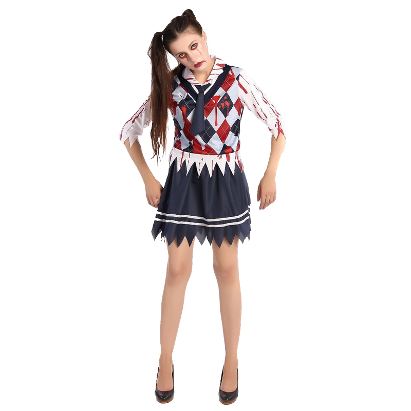 Western Style Vampira Zombie Costumes School Girl Uniform Halloween Dress Women Role-Playing Student Outfit
