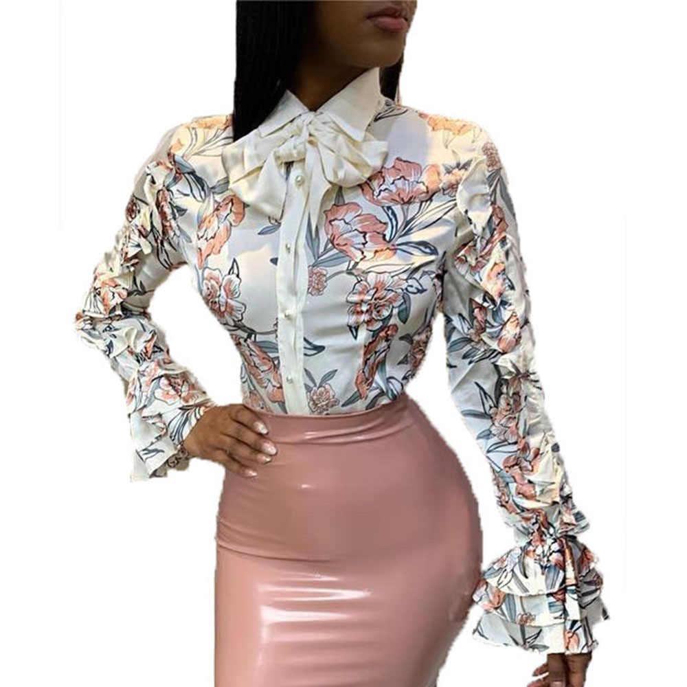 Винтажный белый цветочный принт с длинным рукавом размера плюс, женские топы, Ретро стиль, оборки, бант, элегантная Офисная Женская Осенняя блузка, рубашка