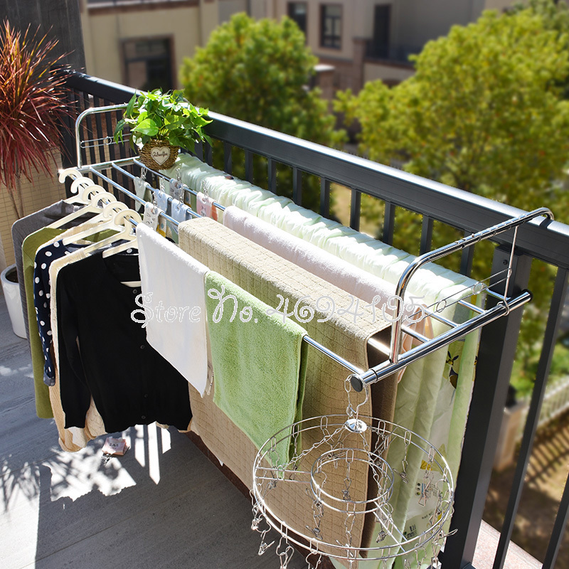 Multiuse Folding Window Drying Rack Stainless Steel Hanging Drying Rack Balcony Drying Shelf Towel Quilt Stand