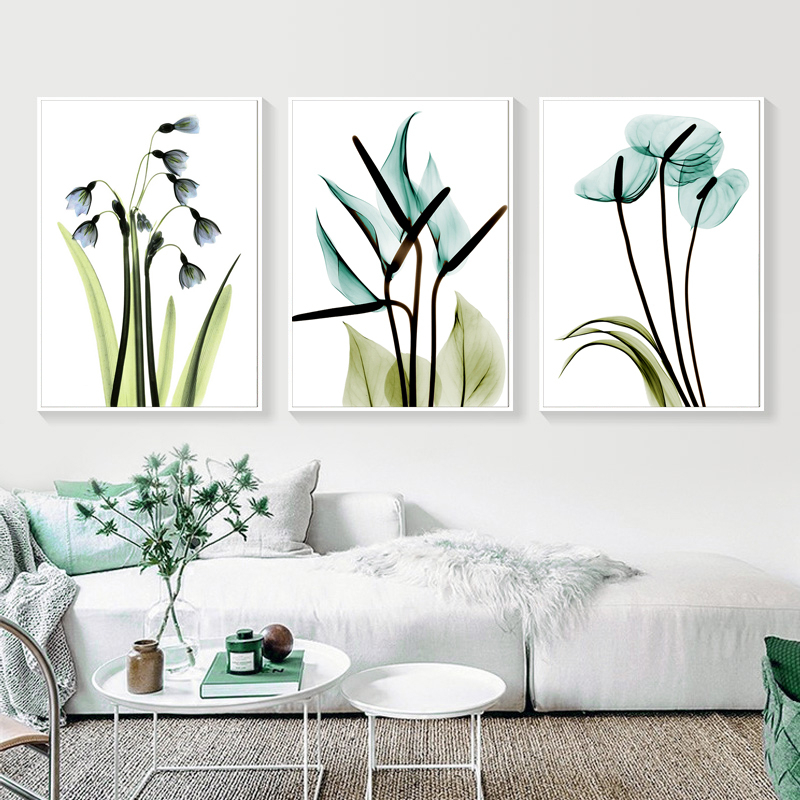 3 Pieces Spring Green Plant Purple Lavender Leaves Flower Canvas Paintings Wall Art Picture Poster Print Living Room Home Decor