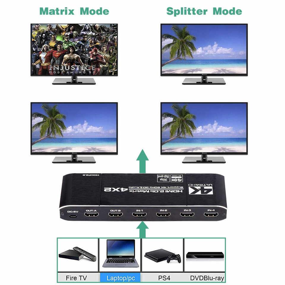 Navceker 18.5 5gbps HDMI マトリックス 4x2 4 18K @ 60 60hz の Hdmi スイッチスプリッタ spdif と L /R 3.5 ミリメートル HDR HDMI スイッチ 4 × 2 サポート Hdcp 2.2 3D