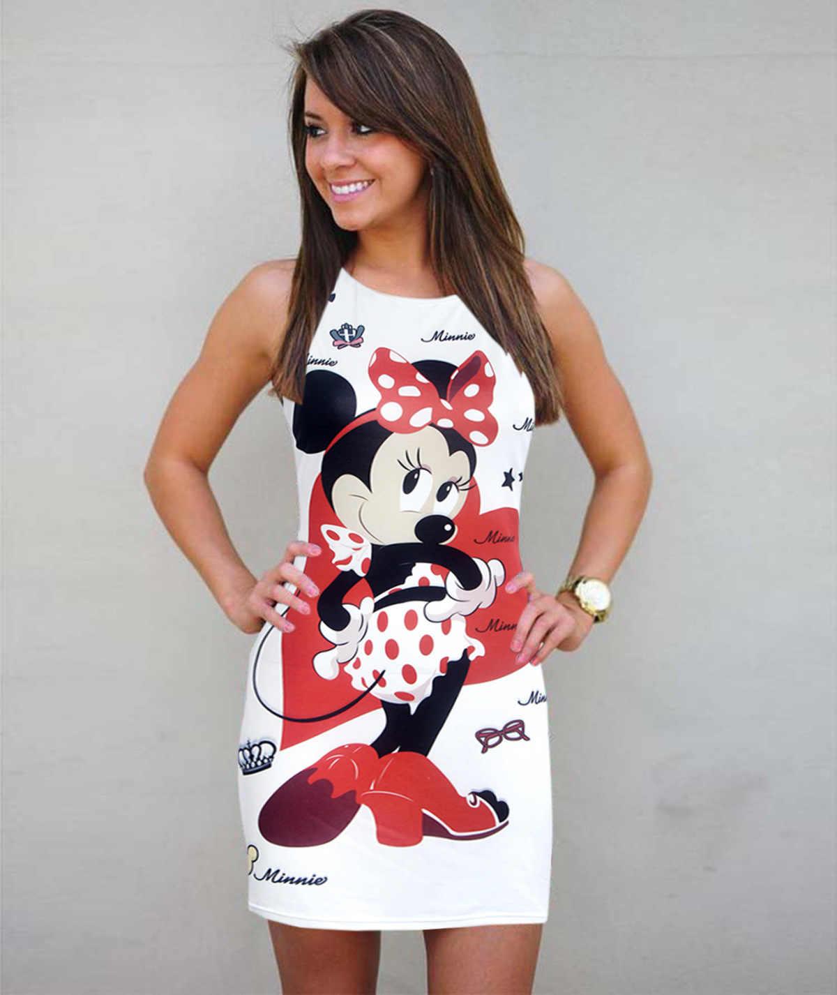 Minnie kadın bodycon parti elbise kadın karikatür baskı doğum günü hediyesi giyim giyim için kız vestidos W009A