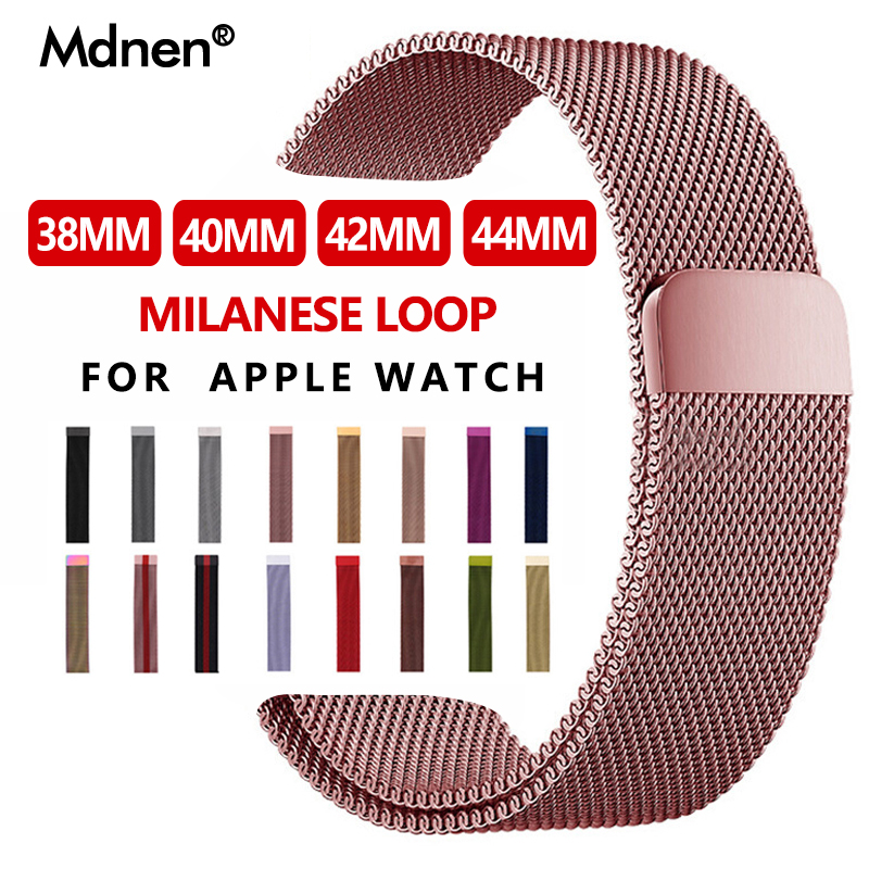 Milanese Loop Band For Apple Watch Band Strap 42mm 38mm Iwatch 4 3 2 1 Mdnen Stainless Steel Link Bracelet Watch Magnetic Buckle