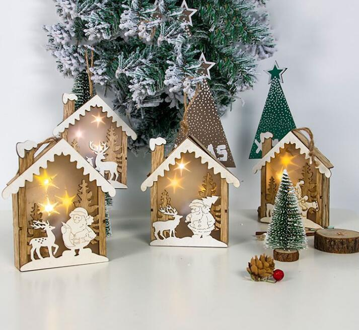 LED Wooden Cabin Shape Lamp Hanging Pendant Christmas Tree Ornaments