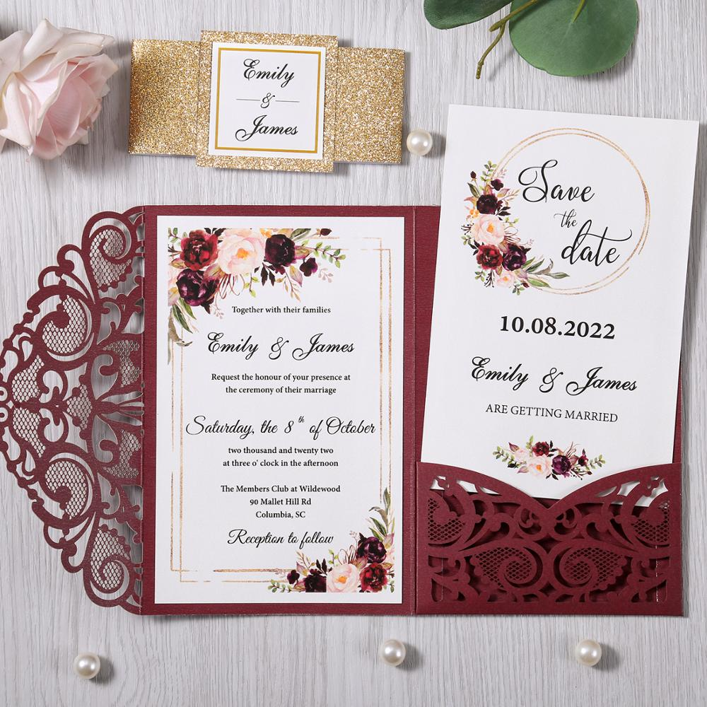 100pcs New Style Burgundy Elegant Hollow Floral Laser Cut Luxury Wedding  Invitation Cards with Envelope|Cards & Invitations| - AliExpress