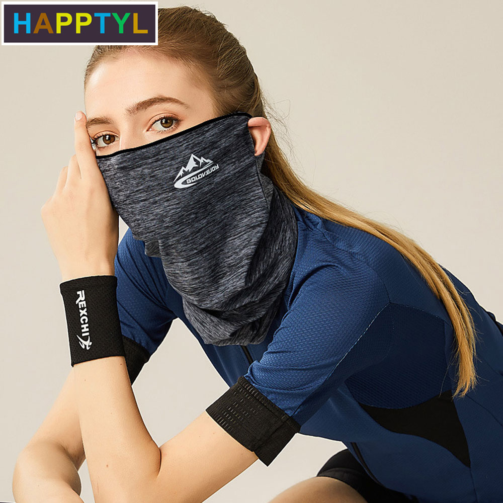 HAPPTYL 1Pcs Women Cycling Neck Face Mask With Ear Loops, Summer UV Protection Scarf Sun Protection Mouth Cover
