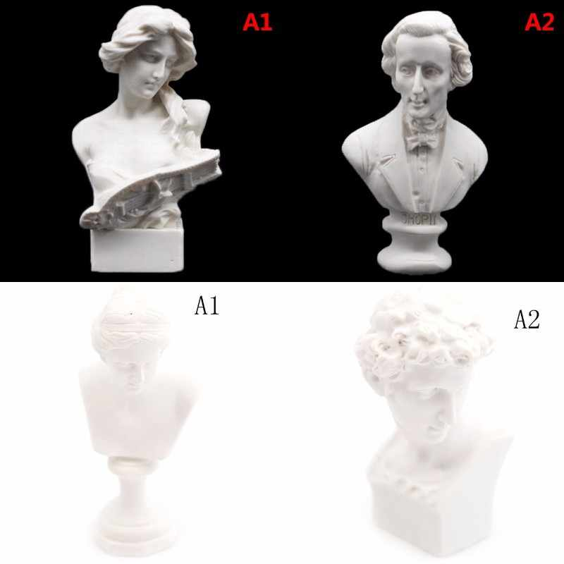 1/12 doll house Miniature Furniture Simulation White Resin Venus David Bust Sculpture Pretend Play House Toys for Kids Children