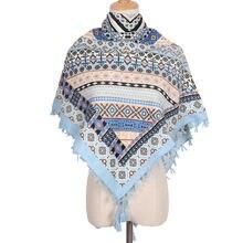 2020 Ретро русский Национальный квадратный шарф для женщин этнический