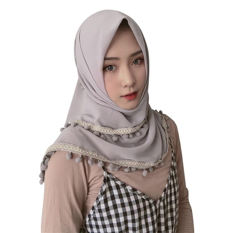2019 New Chiffon Square Hijab Pom-pom Scarf  Soild Color Female Headscarf Malaysia Hijab Turkish Scarves Muslim Head Scarf