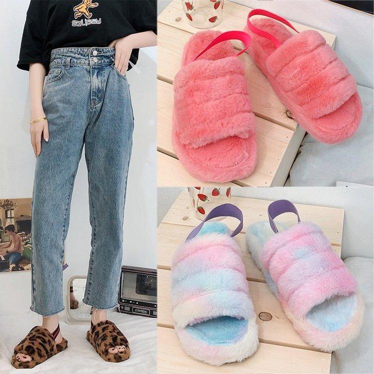 Fashion Women's Platform Winter Warm Sandals Leopard Print Elastic Band Home Outside Slippers Ladies Cute Flat Slippers 9105