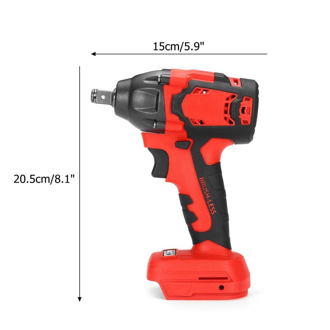 18V 520N.m. Li-Ion Cordless Impact Wrench 1/2'' Driver Brushless Electric Wrench Power Tool For Wood Drill Tyre Repair