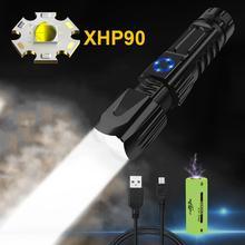 미니 가장 강력한 led 토치 손전등 usb 높은 루멘 xhp90 재충전 용 26650 또는 18650xhp70 xhp50 사냥 손 램프 xhp7.2