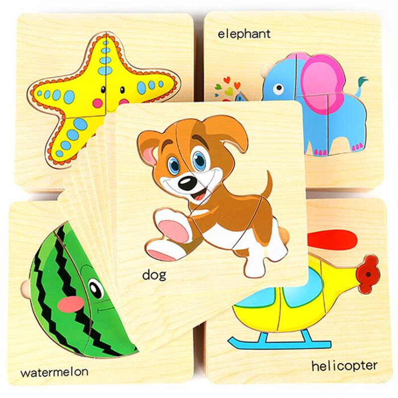 8pcs/lot Baby Toys Montessori Wooden Puzzle Games and Puzzles Toys Educational Puzzles Animal Car Fruit Vegetable Children Gift