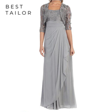 2019 Silver Long Chiffon Mother of the Bride Dresses for Weddings Party Lace Short Jacket Empire Wai