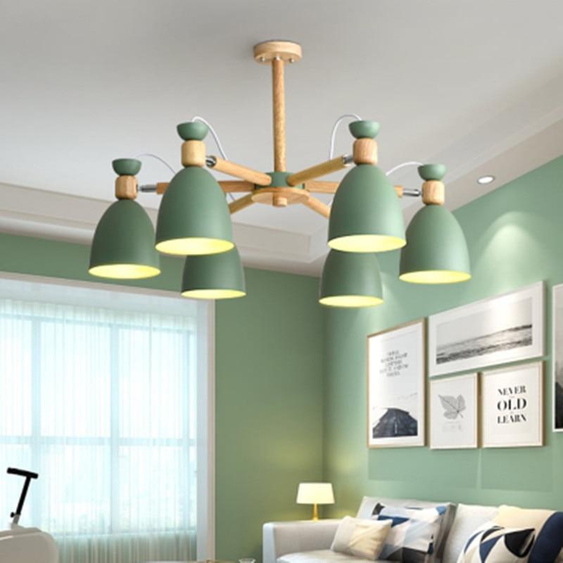 Nordic Modern Minimalist Solid Wood Chandelier E27 220V Kitchen Living Room Bedroom Apartment Bedroom Restaurant Chandelier Lamp