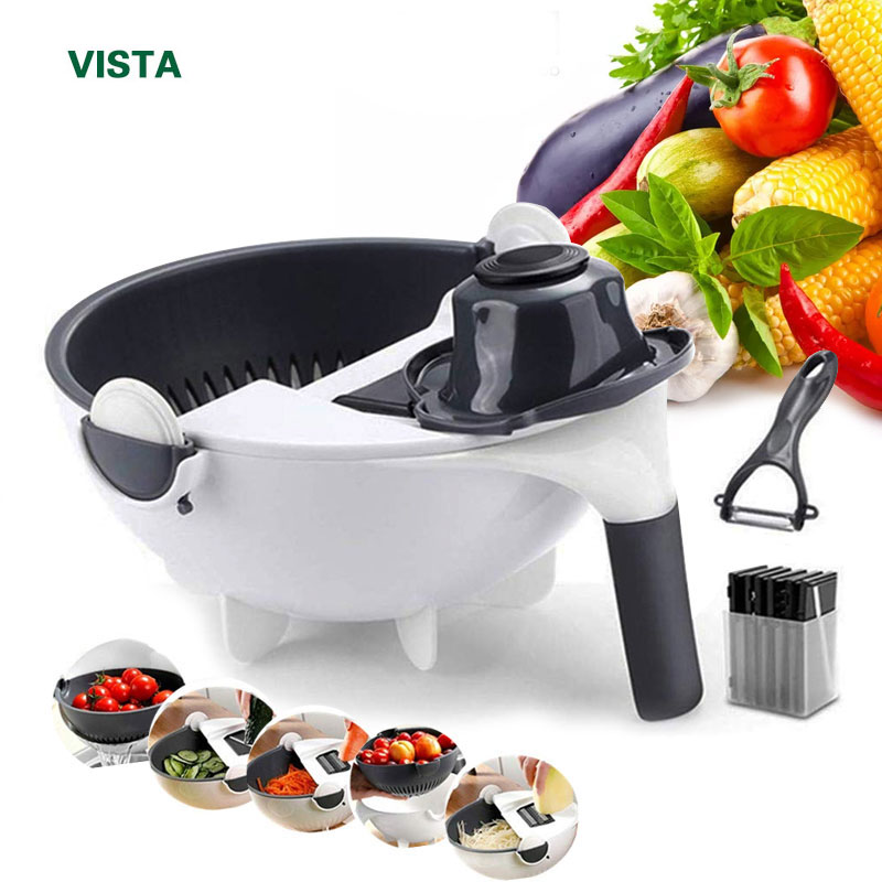 9 in 1 Mandoline Slicer Vegetable Slicer Potato Peeler Carrot Onion Grater with Strainer Kitchen Accessories Vegetable Cutter