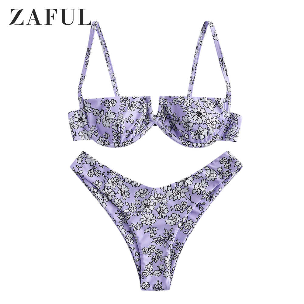 ZAFUL Womens Floral V-Wire Salad High Cut Bikini Set 2-Piece Swimsuit