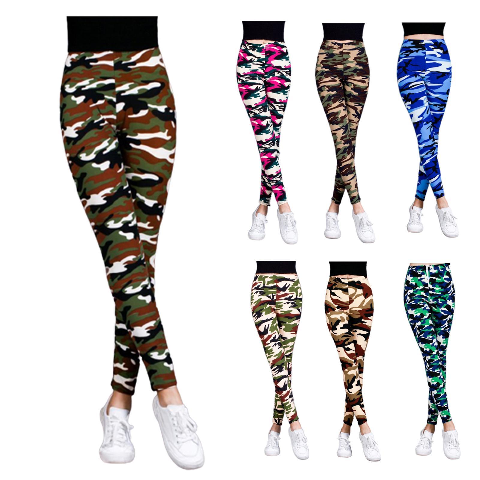 Women Camouflage Printed Large Size High Waist Elastic Slim Ninth Pants Legging Trendy camouflage plus size stretch crochet new