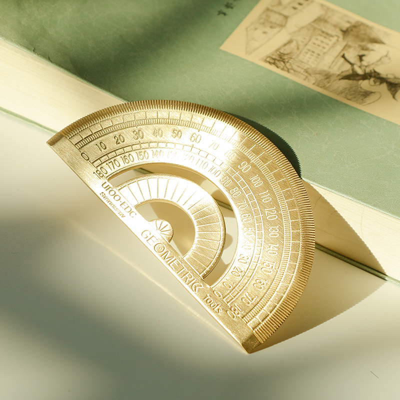 1 Pcs Vintage Golden Ruler Brass Semicircle Protractor Drawing Brass Ruler